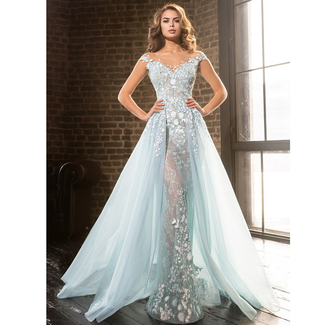 Sheer Mermaid Prom Dress