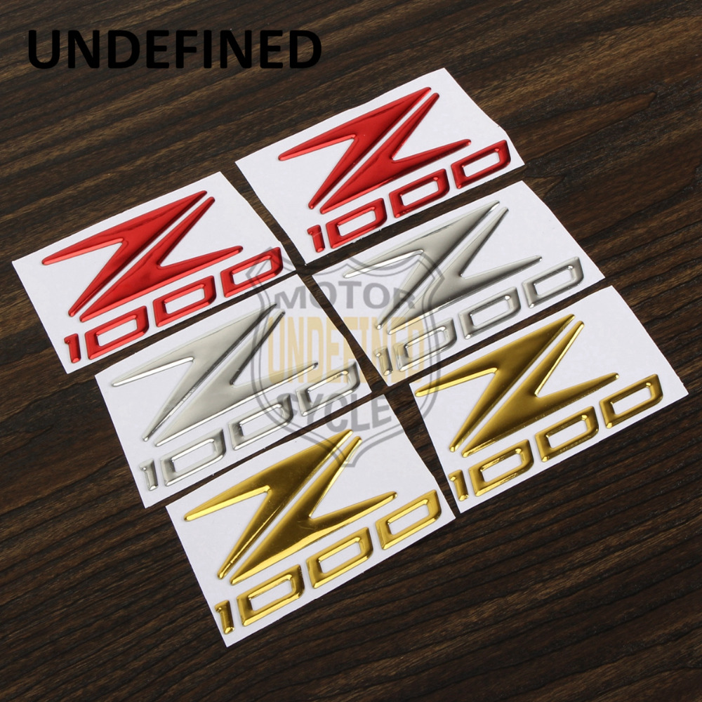 UNDEFINED 2X Motorcycle Bike Red Chrome Gold Raised Reflective Emblem Badge Decals Fairing Tank Fuel Stickers For Kawasaki Z1000