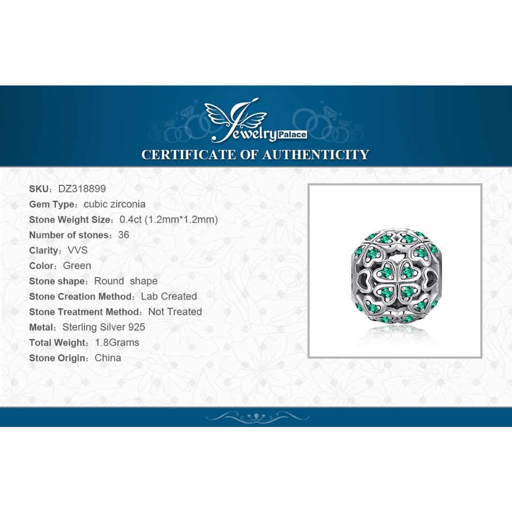 Jewelrypalace quatro folhas 925 prata esterlina grânulos encantos prata 925 original para pulseira de prata 925 original para fazer jóias