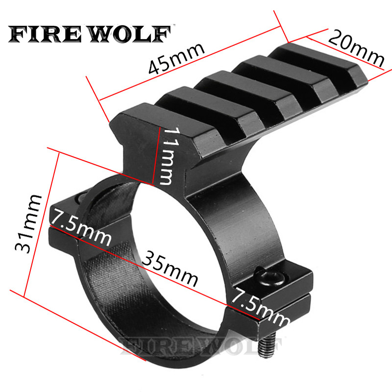 FIRE WOLF 35mm Ring Scope Tube Flashlight Laser 20mm Weaver Picatinny Rail Mount Adapter Aluminum Hunting Accessories