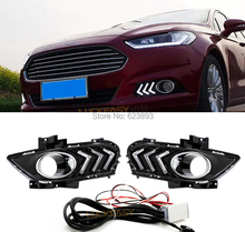 Free shipping,2x LED daytime running light fog cover car styling DRL lamps For Ford Mondeo Fusion 2013-2015