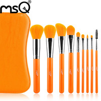 Hohe Qualität Orange Kunsthaar Professionellen Make-Up Pinsel Mit PU Tasche Schönheit Ideal für Den Täglichen Bilden Großhandel