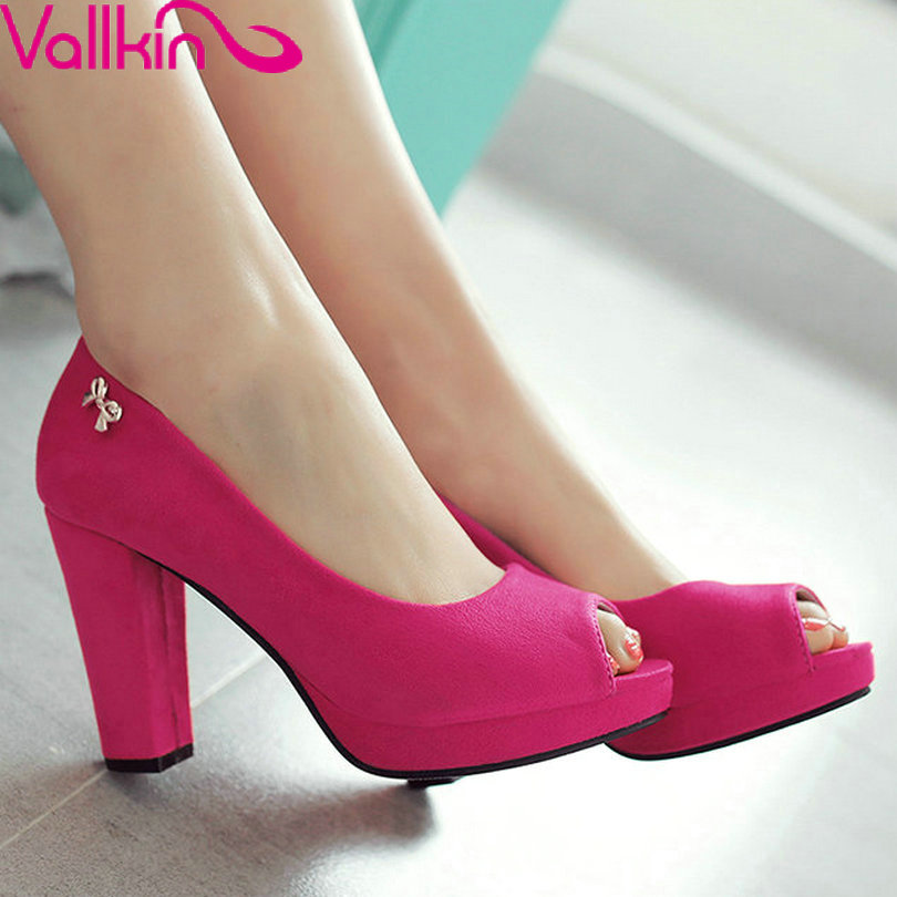 VALLKIN2017 Flock Summer Women Shoes  Big Size 11 12 Peep Toe Thick High Heel Woman Pumps Sequined  Bow Tie Ladies Wedding Shoes new 2017 spring summer women shoes pointed toe high quality brand fashion womens flats ladies plus size 41 sweet flock t179