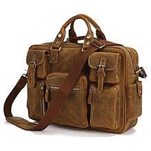 Vintage Bag Brown Color Real Crazy Horse Genuine Leather Men's travel bags Messenger Shoulder Bags Briefcase Portfolio #VP-J7028