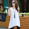 Plus Size Women T-Shirt Korean Style Summer 2017 New Arrivals Cotton Long Tees Sleeveless Irregular Hem Casual Loose Tops S-4XL