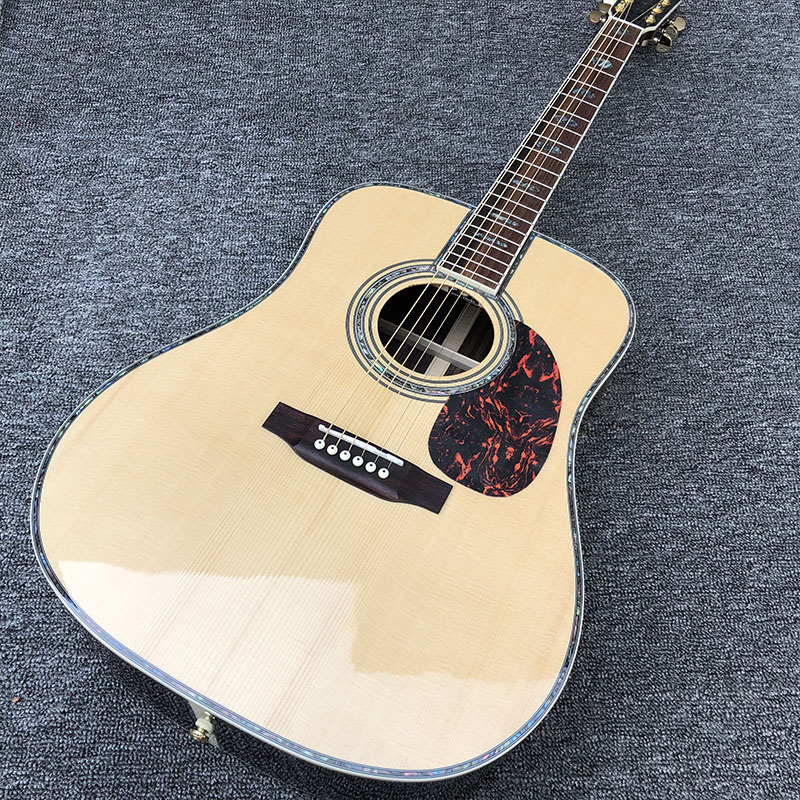 Factory custom 41'' 45 D 20 frets pearl inlay and binding acoustic guitar with gold hardware,colorized shell edge free shipping(China)