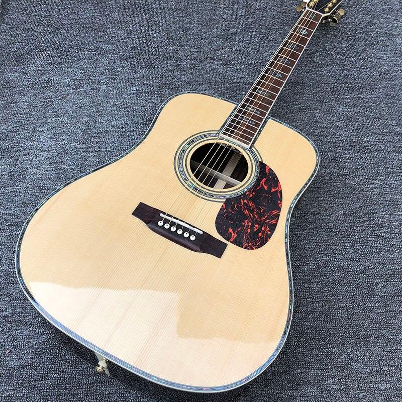 Fábrica personalizada 41 ''45 D 20 frets incrustaciones de perlas y guitarra acústica de encuadernación con hardware dorado, borde de carcasa coloreado envío gratis
