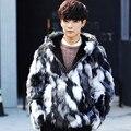 Más el tamaño s-5xl hombres otoño invierno faux fur coat jacket con a capucha, hombres ropa de abrigo con capucha chaquetas y abrigos