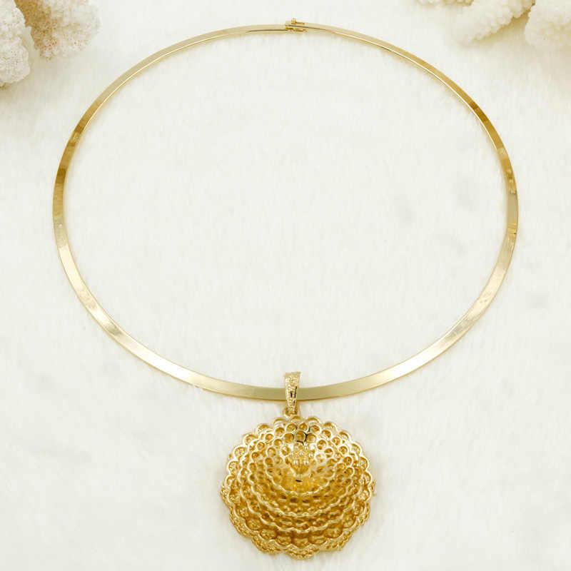 סיטונאי אופנה אפריקאים מכירה גדולה פרח שרשרת תליון עגילי טבעת זהב מצופה סט תכשיטי חתונה כלה/משלוח חינם