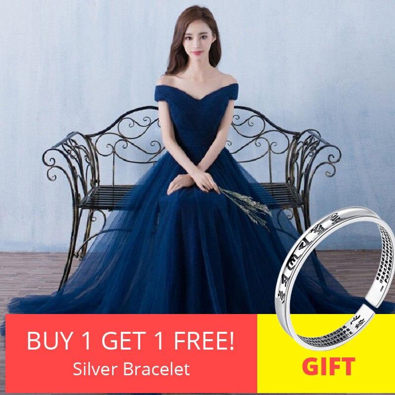 Beleza Emily Backless Elegante Longo Azul Royal Vestidos de Noite 2019 Lace Up Partido Maxi Vestido Formal do baile de Finalistas Vestidos de Festa