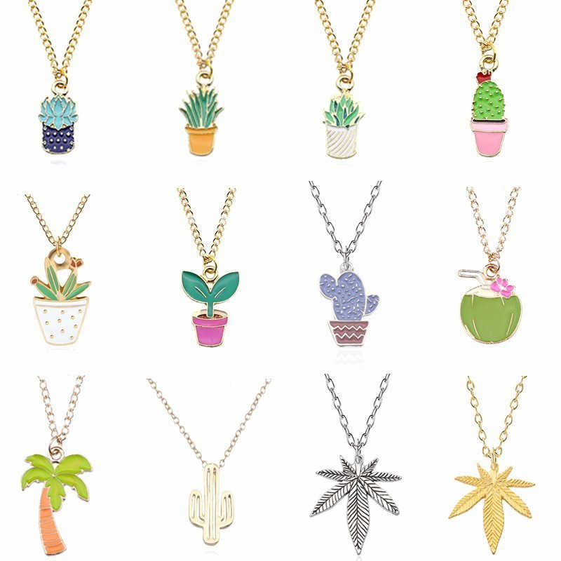 Cute Plant Necklace For Women Kawaii Hollow Cactus Pendant Colorful Gold Silver Metal Necklaces&Pendants Christmas Xmas Jewelry