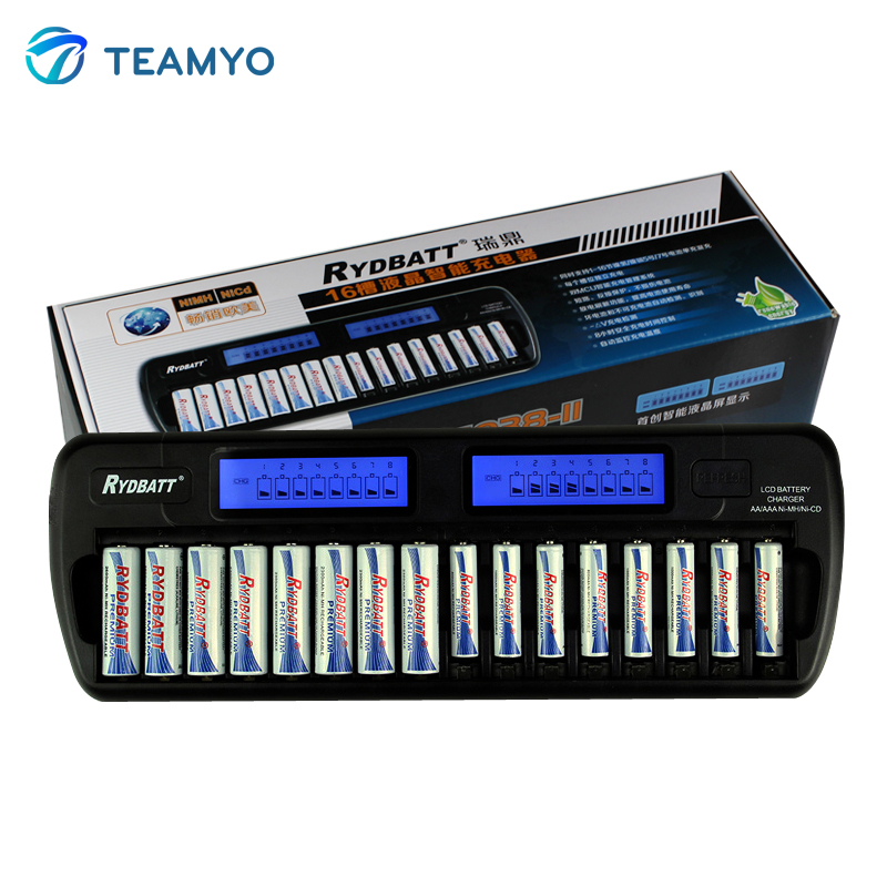 Teamyo 16 Slots LCD Smart Battery Charger AA AAA Ni-MH Ni-Cd 16 bay Batteries 16 Bank Rechargeable Batteries Smart LCD Display