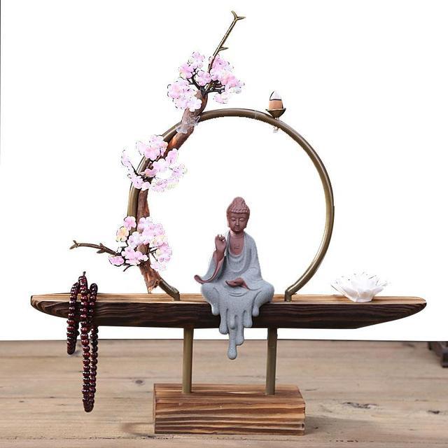 Cultural Elegant Creative Backflow Incense Burner Traditional Buddha Lotus Classic Smoke Waterfall Incense Holder Home Decor
