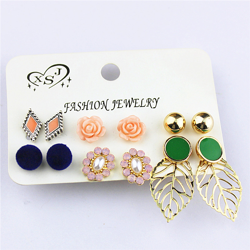 New fashion gorgeous womens jewelry wholesale Girls Birthday Party ear nail 6 pairs of /set mixed type ear ring agent shipping