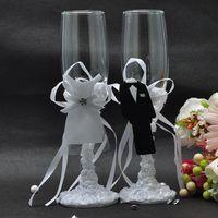 Sale 2pcs Set 5706 Wedding Champagne Glass Set Decor Hanap Red Wine Cup Wedding Glasses Bride