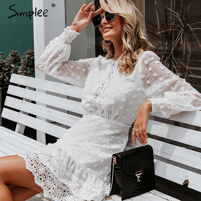 Simplee Sexy weiß chiffon kleid frauen Lange laterne hülse spitze kleider dots weibliche Luxus schlanke abend party kleid vestidos
