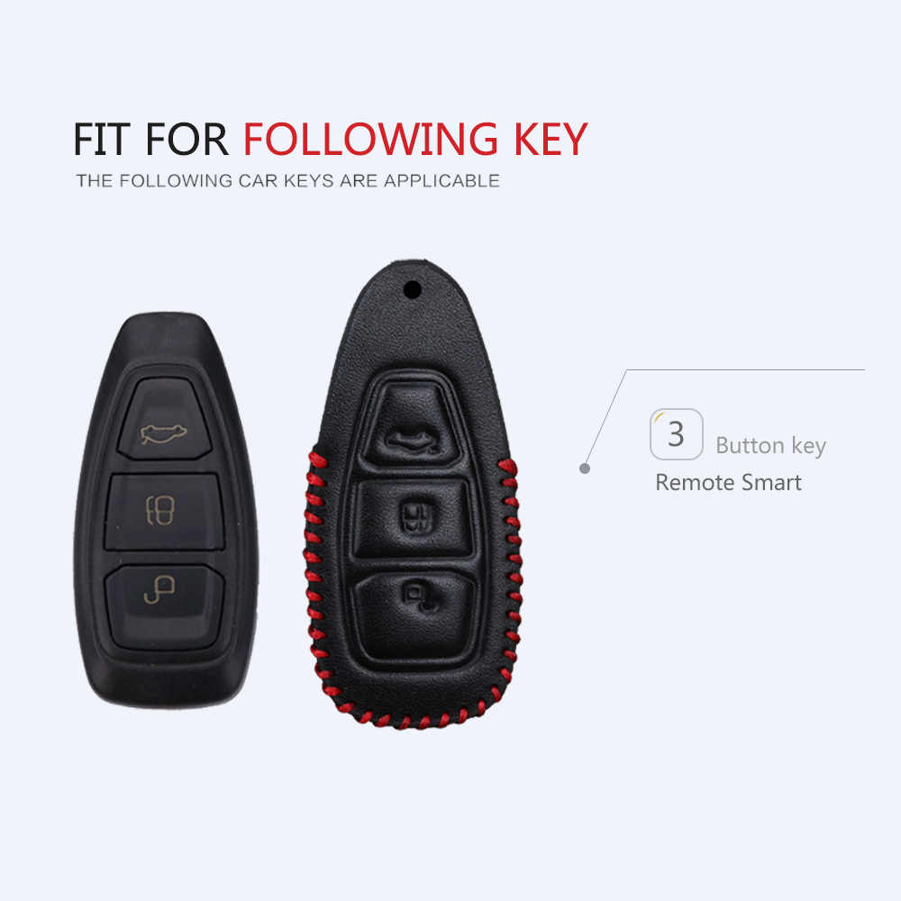 Geunuin Funda de cuero para llave de coche para Ford Focus 3 MK3 MK2 Kuga Fiesta MK7 ST Mondeo Mk4 4 Fusion KA C Max llavero Accesorios