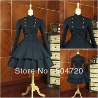 Custom made Black cotton long sleeve Classic Gothic school Lolita Dress/victorian dress cosplay Size US 6 26 XS 6XL V 922