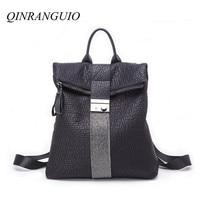 QINRANGUIO Women Backpack 2019 New Design Fashion Travel Backpack Women Genuine Leather Backpack Female Fashion Lock Mochila