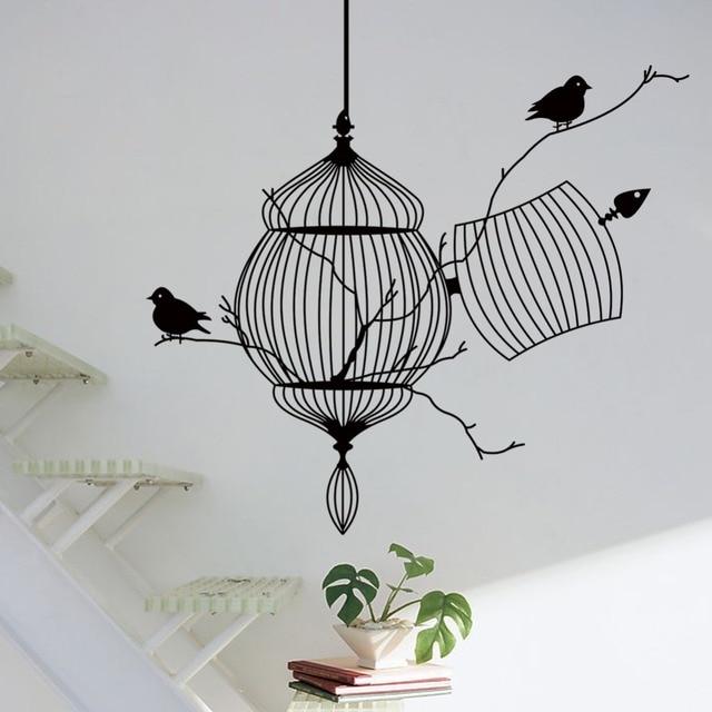 Aves jaula y rama de árbol creativo moderno vinilo etiqueta de la ...