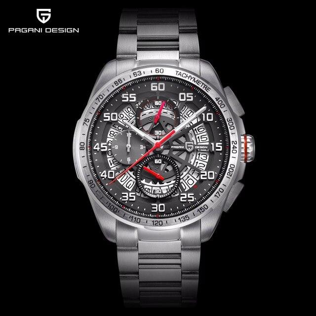 61c803fa946 2019 PAGANI DESIGN Da Marca Top de Luxo Relógio Esqueleto Homens de Aço  Inoxidável   Leather