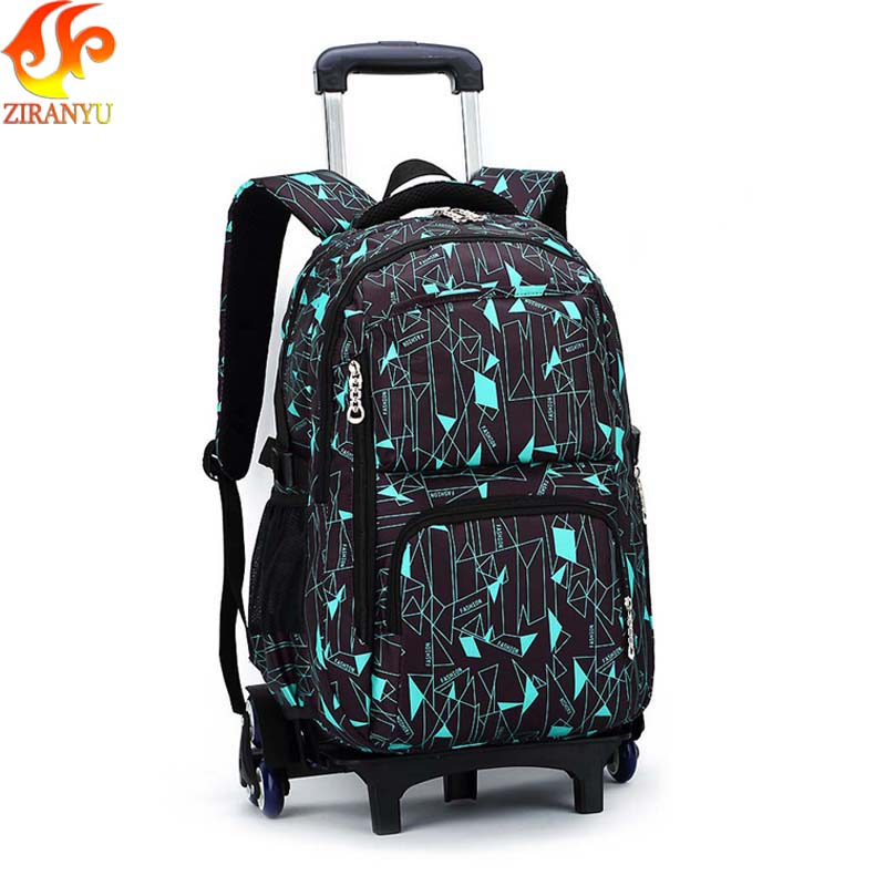 ZIRANYU Latest Removable Children School Bags With 3 Wheels Stairs Kids boys girls Trolley Schoolbag Luggage