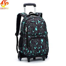 ZIRANYU Latest Removable Children School Bags With 3 Wheels Stairs Kids boys girls Trolley Schoolbag Luggage Book Bags Backpack(China)