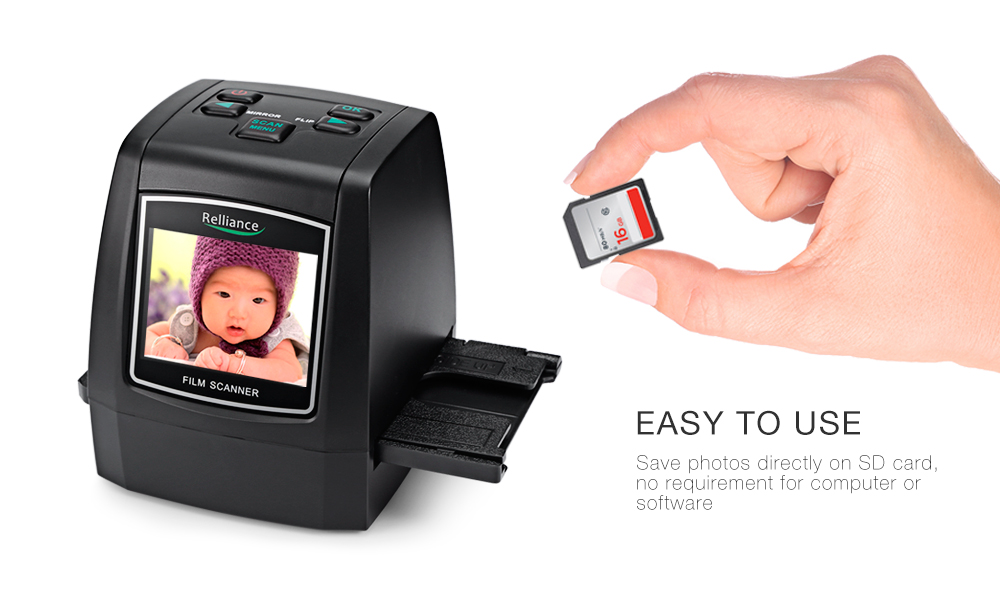 Relliance EC018 Film Scanner 135mm/ 126mm/ 110mm/ 8mm High-resolution Negative Film Slide Scanner Converter USB MSDC EU/US plug 2