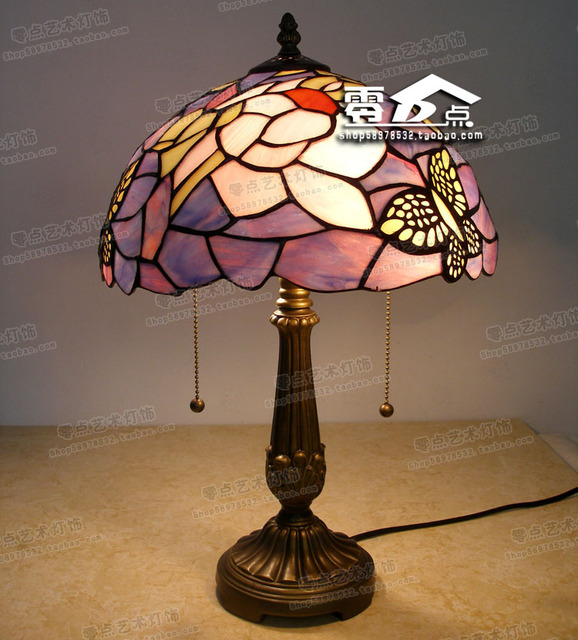 30cm Tiffany Stained Gl Lamps Flowers Purple Bedroom Bedside Table Study