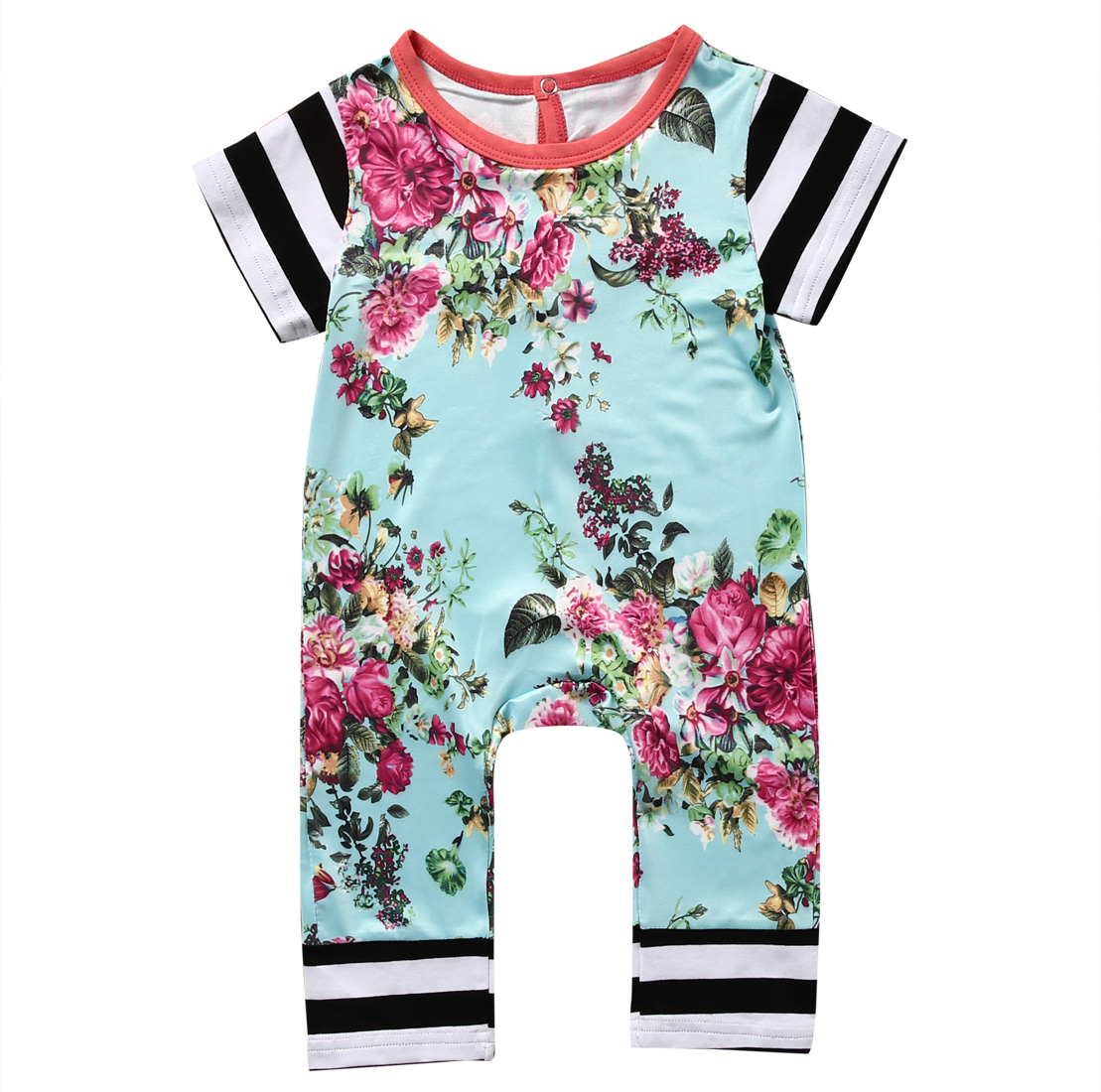 Cute Newborn Baby Boy Girl short sleeve Floral Print Romper Jumpsuit Kids Toddler cotton summer Outfit Sunsuit