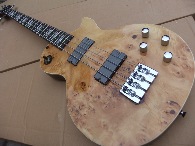 Wholesale New 4 string Bass Electric 4 strings  Bass Guitar LP model In Wooden Natural 101020 new style hot sell alien b c rich iron g 6 strings electric guitar the white model