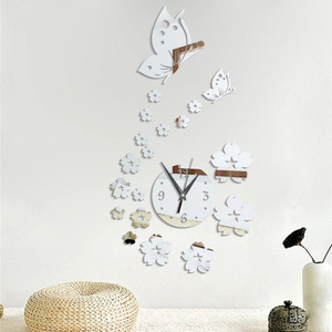 New 3D Pansy Wall Clock Mirror