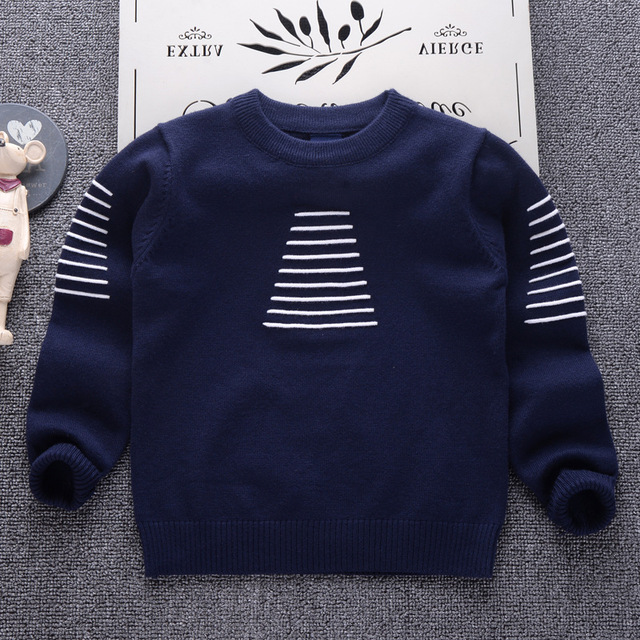 cb012a3f3 AD Striped Children Clothing Boys Girls Color Knitted Sweater Kids Spring  Autumn Cotton Outer Wear baby Girl Pullover 1-6Y
