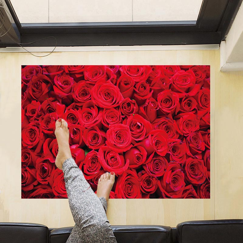 Beautiful red rose floor wall stickers pvc material diy - Beautiful wall stickers for living room ...