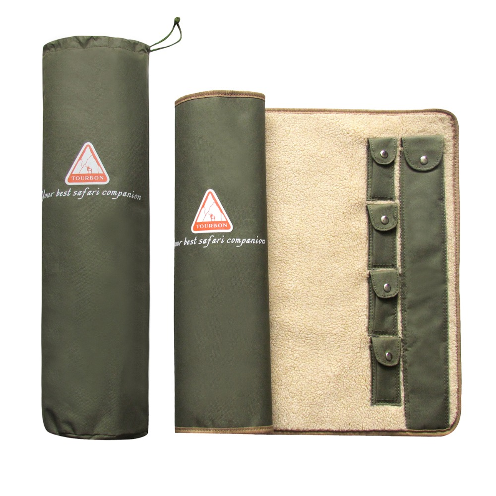 Tourbon Outdoor Shooting Memburu Gun Rifle Cleaning Mat untuk Shotgun Care Kit Army Green Nylon Cushion Pad