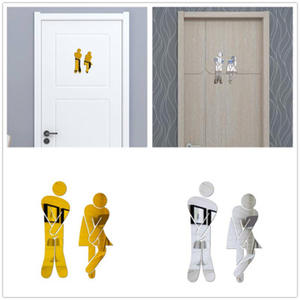 3D Mirror Sticker Bathroom Funny Wall Entrance-Sign Toilet-Door WC DIY Men Women