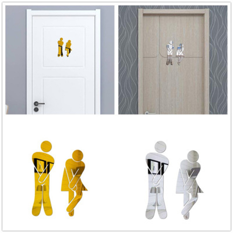 Toilet stickers wc 3D Mirror Sticker Funny WC Toilet Door Entrance Sign Men Women Bathroom DIY Wall Stickers