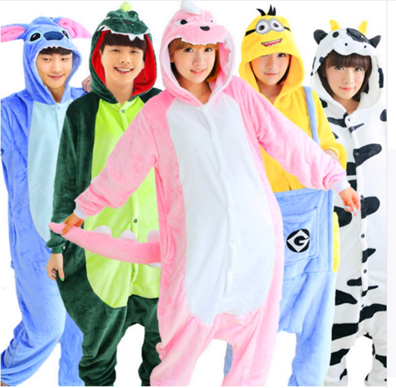 One Piece Pajamas Flannel Women Men Pajama Cartoon Unisex Cosplay Sleepwear Homewear Ani ...