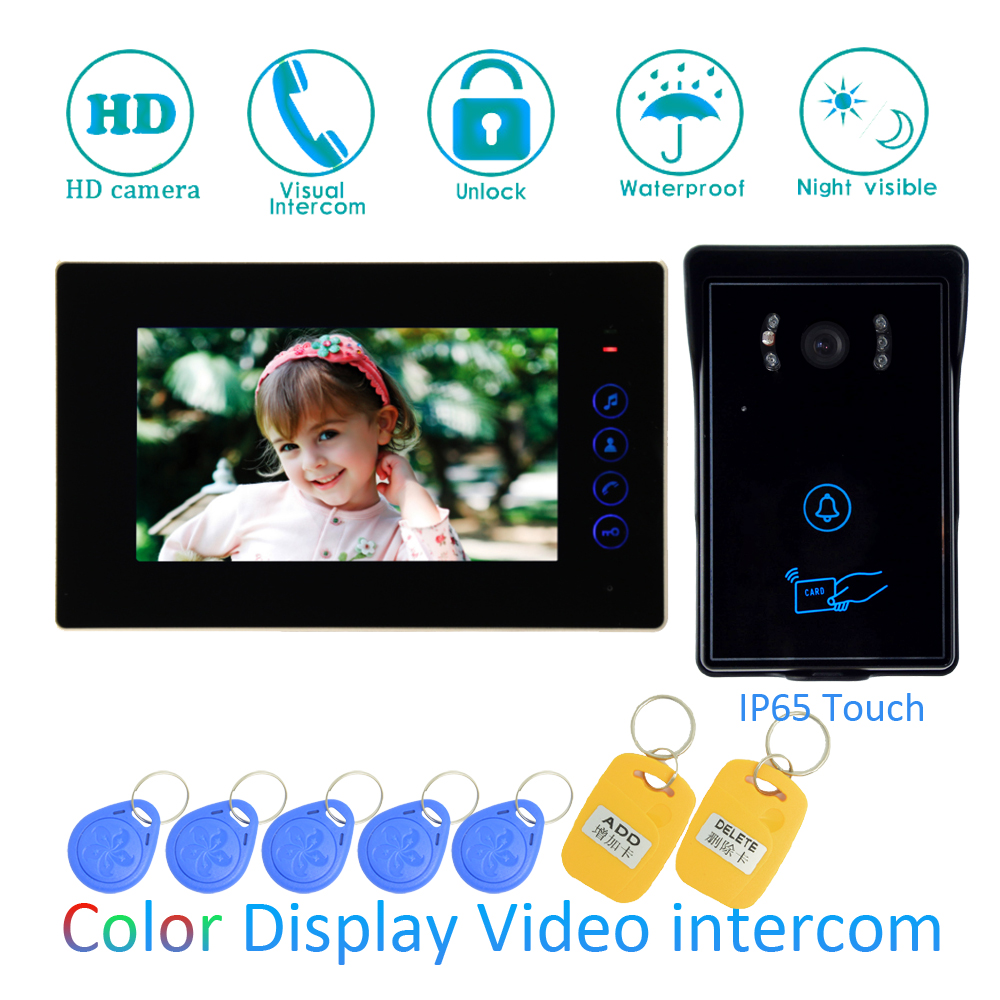 (1 SET) Video Intercom Home Garden Improvement Door Phone 7'' Monitor With RFID Card Unlock Release Function Door Bell System