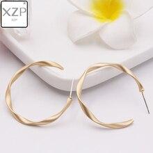 XZP S925 Pins Matte Gold Silver Open Twisted Hoop Earrings for Women Geometric Circle Hoops Minimalist Metal Small