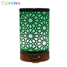 COOSA Ultrasonic Air Humidifier 100ml Cool Mist 7 LED Lights Colors Metal Oil Diffuser Premium Aroma diffuser for Baby Bedroom