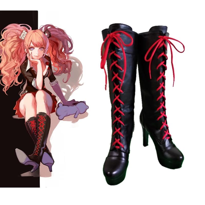 Anime Danganronpa 2 Enoshima Junko Cosplay Boots Lace Up High Heel Shoes New+Drop Shipping Pu Leather