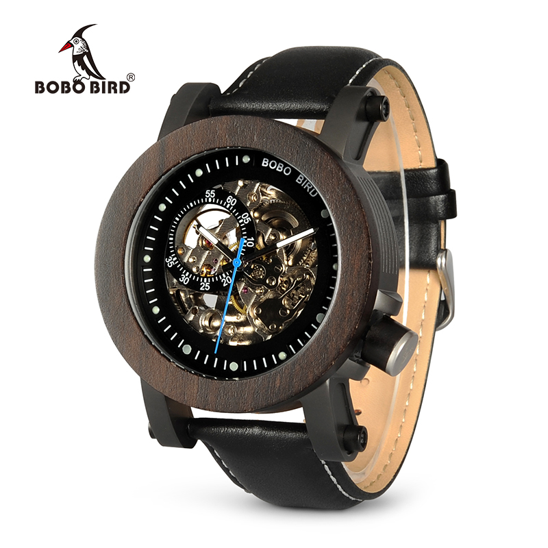 BOBO BIRD K10 Ebony Wood Mens Watches Vintage Bronze Skeleton Clock Male Antique Steampunk Casual Automatic