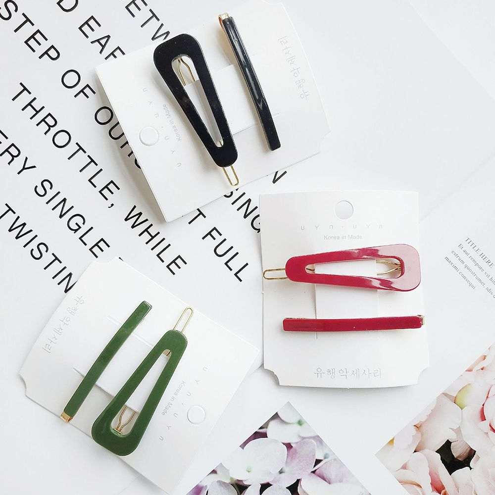 1Set Fashion Vintage Women Simple Colorful Solid Color chick Barrettes Female Elegant Hair Clips Lady Hairpins Hair Accessories(China)