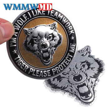 цена на Car-Styling Wolf Head Sticker 3D Metal Car Motorcycle Logo Emblem Badge decoration Decals Auto Accessories