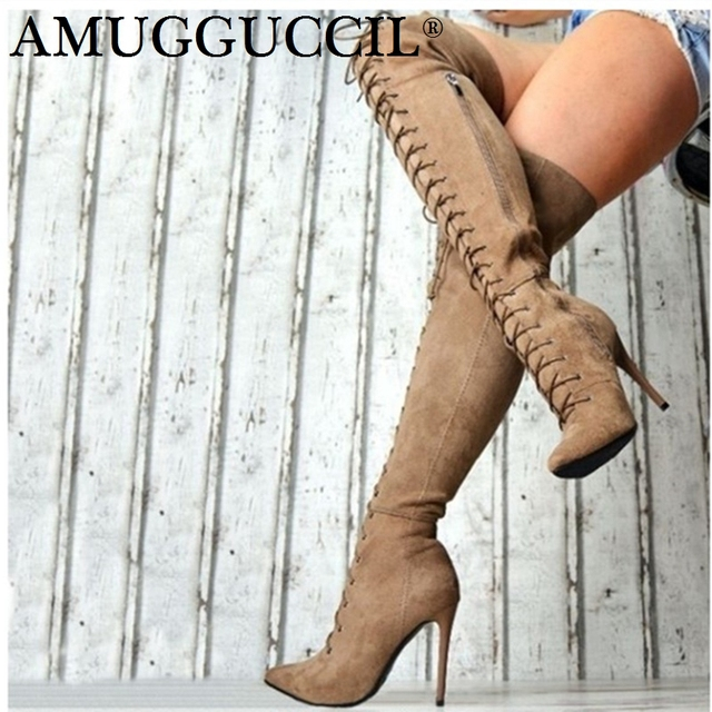 2019 Plus Big Size 36-47 Black Gray Khaki Wine-red Zip Lace Up Sexy Thigh High Heel Over The Knee Autumn Lady Women Boot X1787