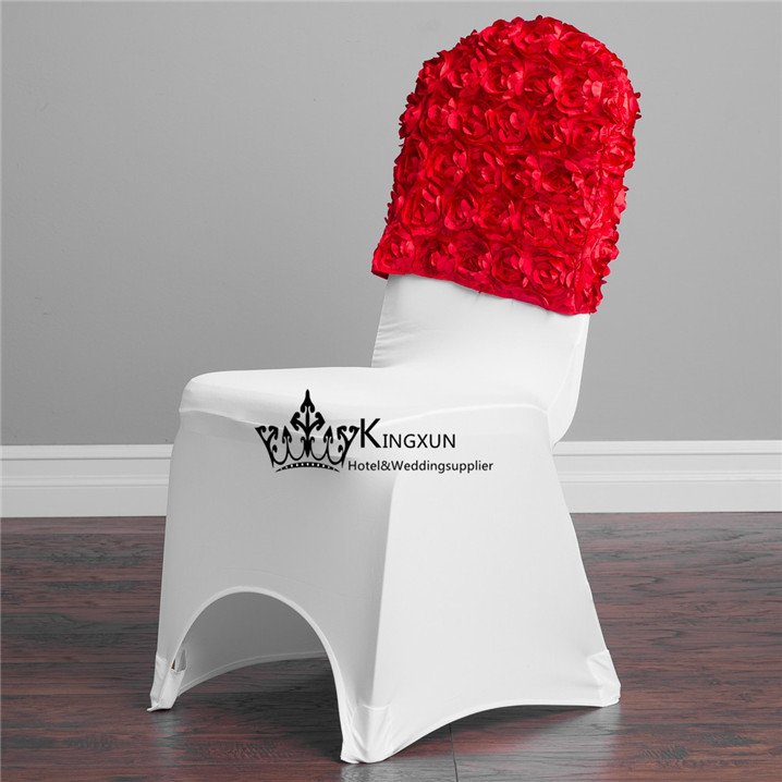 RED Color 3D Satin Rosette Chair Cap  Chair Hood Used For Spandex Chair Cover