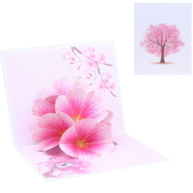 Peach blossom flower greeting cards handmade birthday wedding peach blossom flower greeting cards handmade birthday wedding invitation letter christmas thanksgiving 3d pop up card m4hsunfo