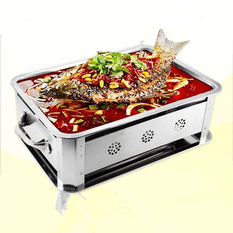 Portable Charcoal BBQ Fish Oven For Desk Top Barbecue Grill,GaiaBBQ B36,Rectangle Korea Style 2 To 3 People Use Stainless Steel