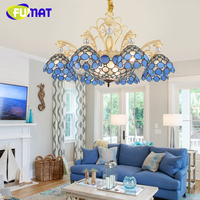 FUMAT Blue Chandelier Lights Pastoral Mediterranean Style Chandelier Atmosphere Lamp LED Light for Bedroom Living Room Light